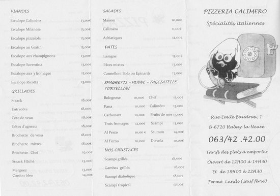 Calimero Pizza: Menu page1 (2014)