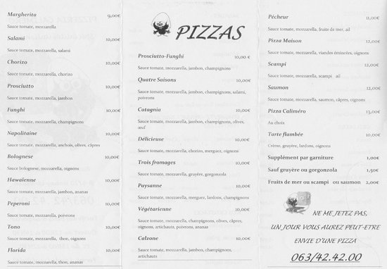 Calimero Pizza: Menu page2 (2014)