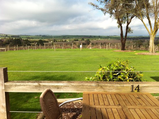 Yarrawood Cellar Door and Cafe: Lovely view over the flats towards Yarra Glen.