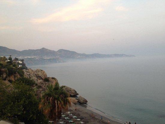 Balcón de Europa: fog in the sea, photo taken from from the Balcon de Europa