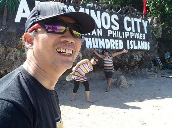 Hundred Islands: At Quezon Island, with my two travel buddies