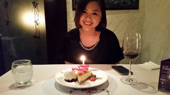 The Steakhouse : The birthday cake compliment by the house