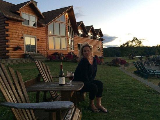 5 Lakes Lodge: My fiancee Rachel enjoying wine and a beautiful lakeside sunset at the Lodge