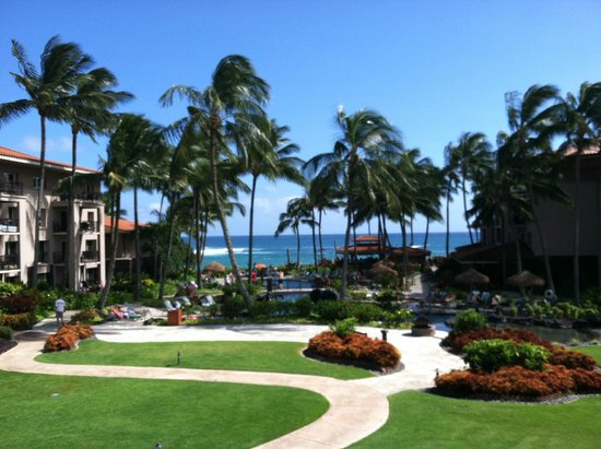 Marriott's Waiohai Beach Club: View from our Lanai in Hale 2, 2nd floor