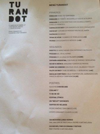 Restaurant Turandot: Carta del menú de hoy