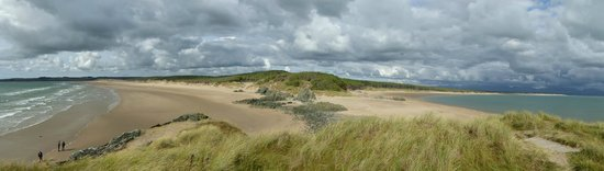 Newborough Warren & Ynys Llanddwyn: Llandwyn Island, Anglesey with Newborough Beach to the right