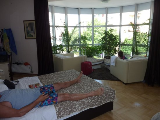 Hotel Lotos: Our room for four with the two lounge chairs made into single beds