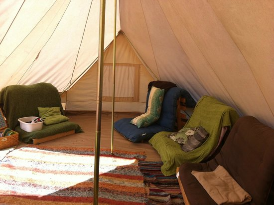Dorset Country Holidays Glamping: Interior of group glamping bell tent