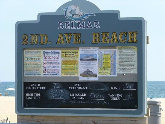 Belmar Beach and Boardwalk: weather postings with water temp