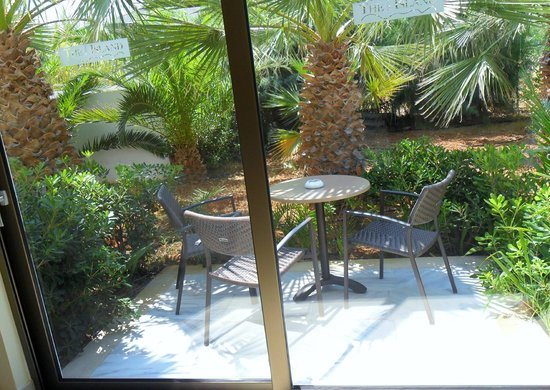 The Island Hotel: Outside seating of room