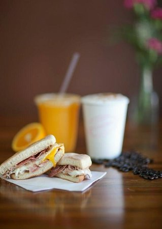 The Pink Bean Coffee: Ham and Egg Sandwich on Portuguese muffin (Tony's Bakery) with fresh OJ