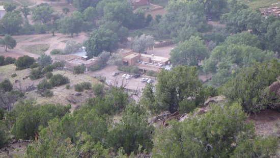 Abiquiu Inn: view from hill across Hwy 84