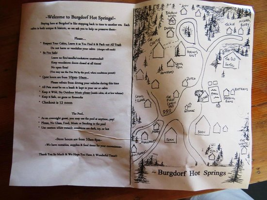 Burgdorf Hot Springs: Cabin map