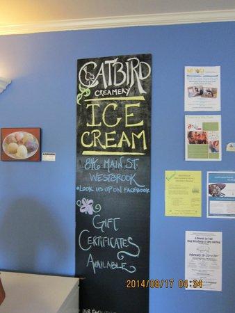 Catbird Creamery: sign