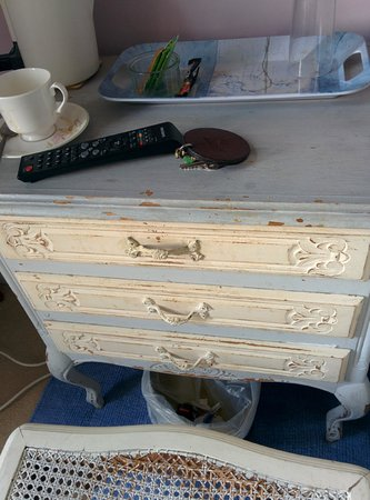 Blenheim Lodge: 'antique' chest of drawers and chair