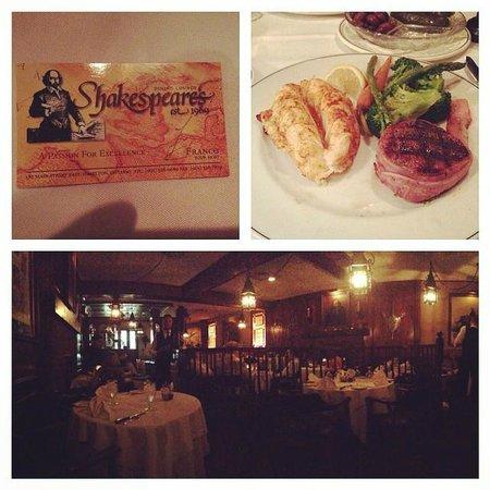 Shakespeare's Steak House: Lobster Tail + Filet Mignon