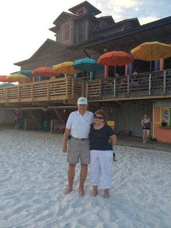 My parents on the beach by Pompano Joe's.