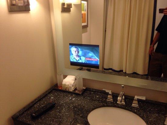 Renaissance Schaumburg Convention Center Hotel: Bathroom television