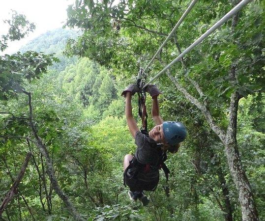 Navitat Canopy Adventures - Asheville Zipline: My Granddaughter saying goodbye, first zip!