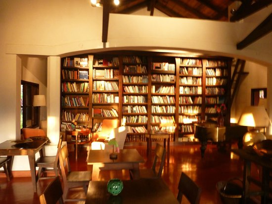 Library adjacent to dining room