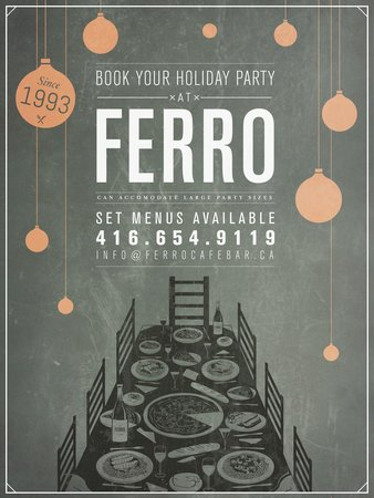 Ferro Bar & Cafe : Ferro accepts large group parties for parties up to 60ppl! Set-menus and many other options!