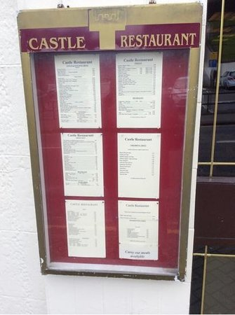 The Castle Restaurant: Outside menu