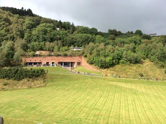 Urquhart Castle: Visitor Center seen from the Tower
