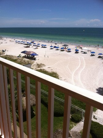 Sand Dollar Condominiums: South view of beach and cabanas from our balcony