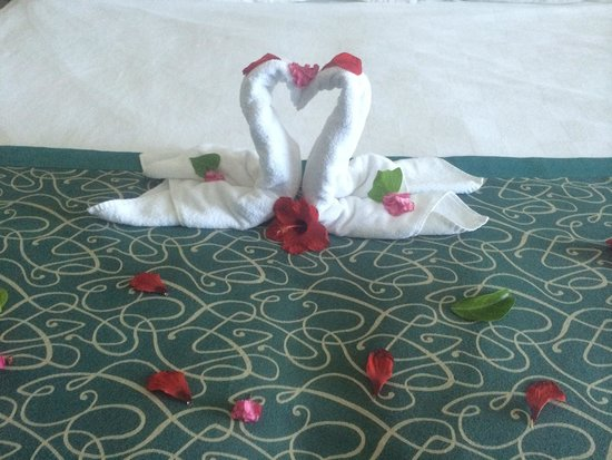 Venosa Beach Resort & Spa : Swans on the bed