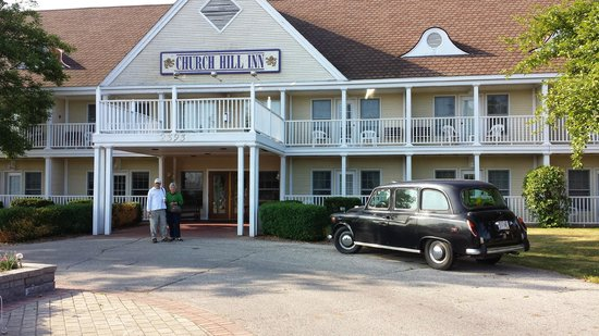 Church Hill Inn: the front exterior.  that car was parked there 24/7.  part of the british charm.