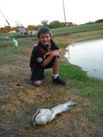 Pappy's Paradise Bed & Breakfast: The Duck Pond and My Son Fishing :)