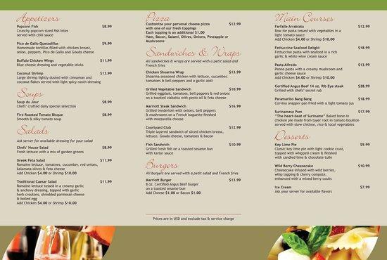 Marriott Suriname Restaurant Menu