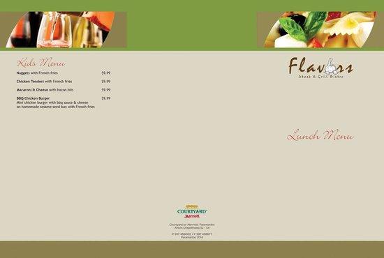 Flavors Restaurant: Menu back