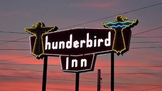 The Thunderbird Inn: Thunderbird Inn Sign at dusk