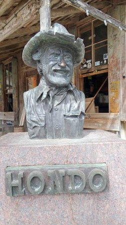 Luckenbach Texas General Store: the statue of Hondo, a rancher and Texas folklorist