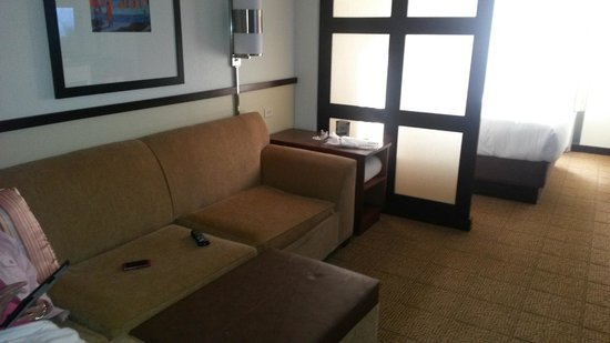 Hyatt Place Mohegan Sun: couch opens up to sleep 2