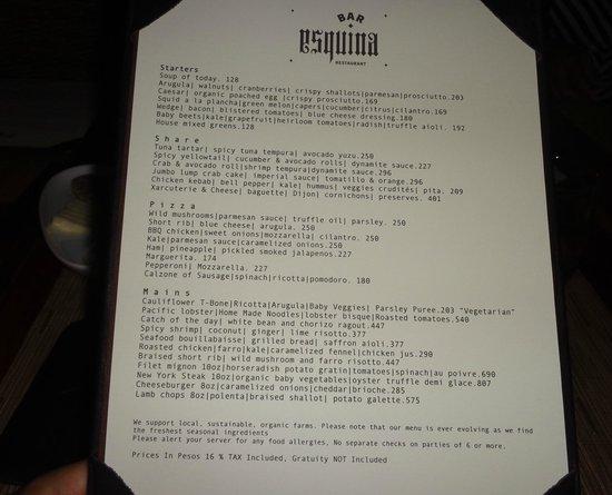 Bar Esquina : El menu