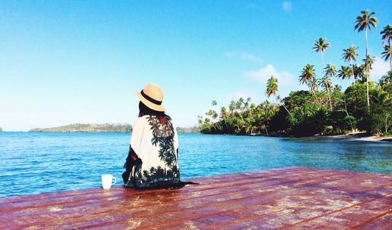Koro Sun Resort and Rainforest Spa: My morning coffee and view