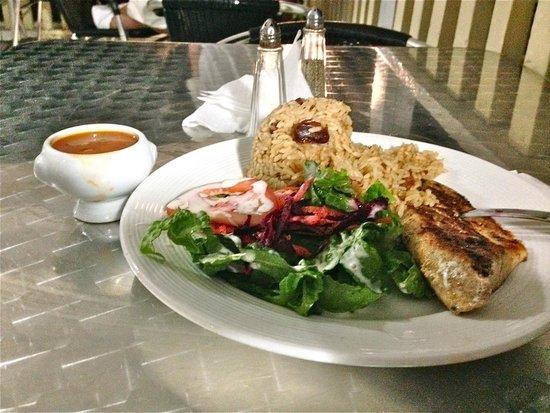 Alexanders Kitchen: Creole Mahi Mahi with side salad and peas and rice