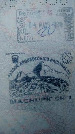 Santuario Histórico de Machu Picchu: Carimbo do local