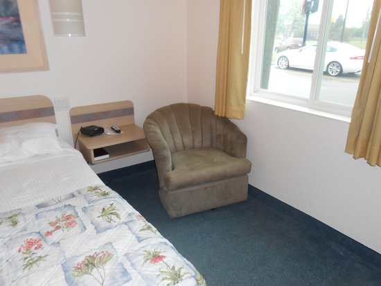 Super 8 Sault Ste. Marie: Small but comfortable chair barely fits in small room.