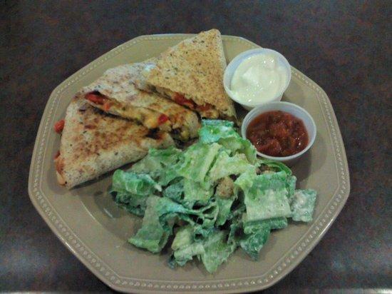Nika's Nook: Chicken Quesadilla with Caesar Salad