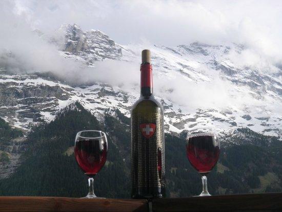 Derby Hotel: Swiss Wine & Eiger View...Life is Good!!