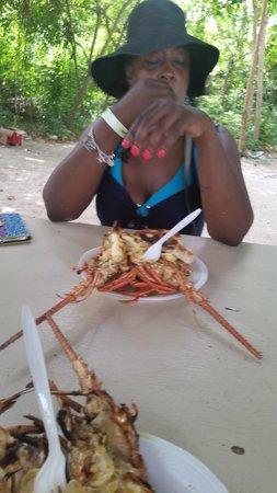 Booby Cay Island : Lobster on Booby Cay