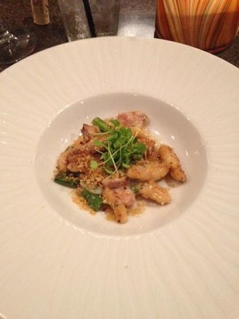 American Harvest Eatery: Potato gnocchi with snap peas, parmigiano, and housemade ham
