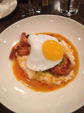 American Harvest Eatery: shrimp and grits with chili oil and duck egg