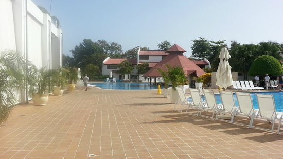 BlueBay Villas Doradas Adults Only: Two of the pools by buffet and stage