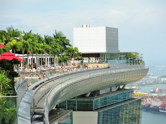 The swimming pool on top of the hotel picture of marina bay sands skypark singapore tripadvisor for Marina bay sands hotel swimming pool