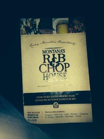 Montana's Rib and Chop House: Menu cover