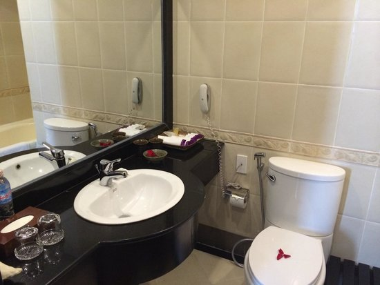 ORCHID HOTEL: Nice bathroom with the best shower of the trip.